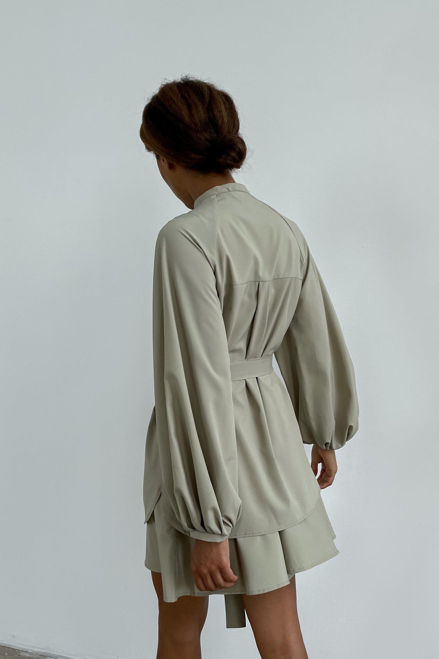 Платье мини с двойной юбкой оливковое - THE LACE