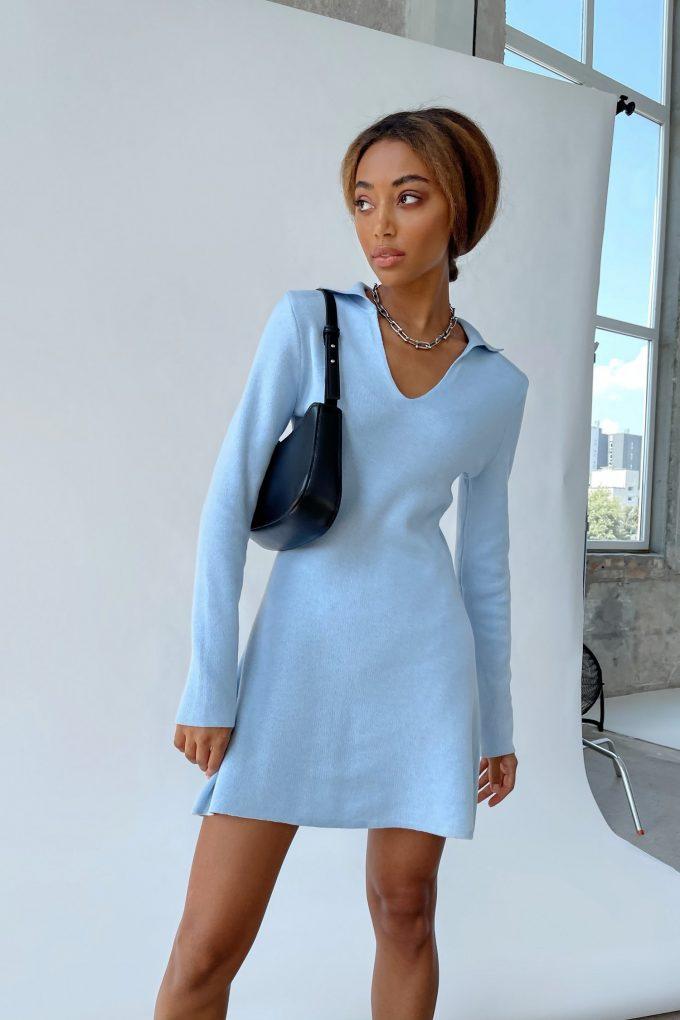 Трикотажное платье мини поло голубое - THE LACE