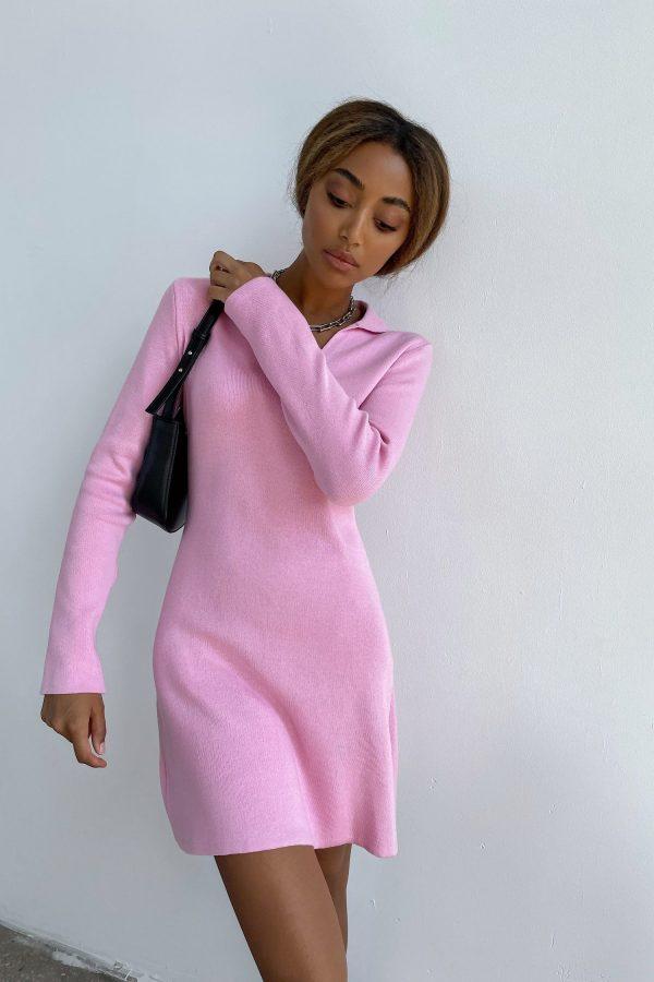 Трикотажное платье мини поло розовое - THE LACE