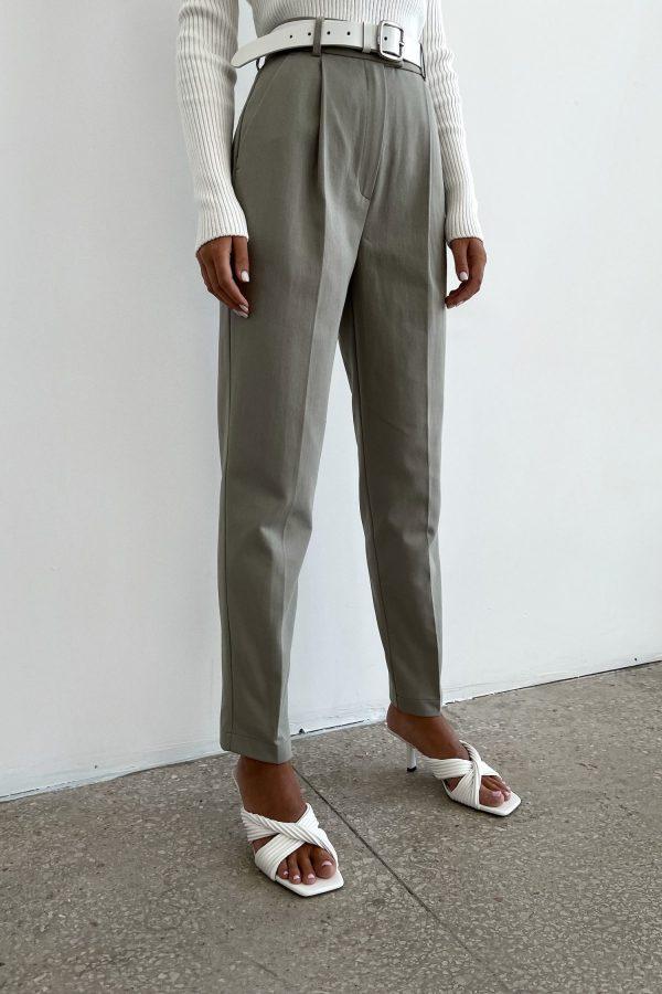Оливковые брюки из коттона - THE LACE