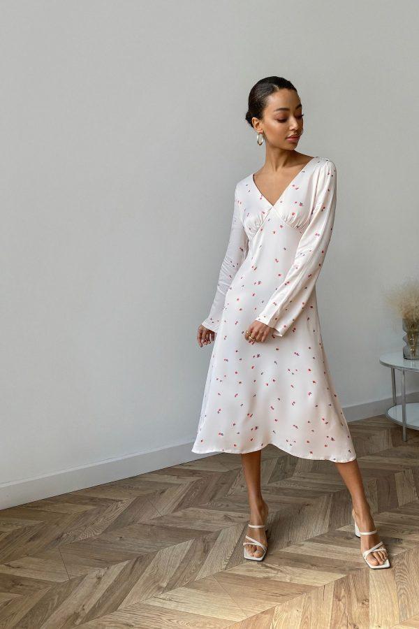 Платье миди кремовое Mini roses - THE LACE