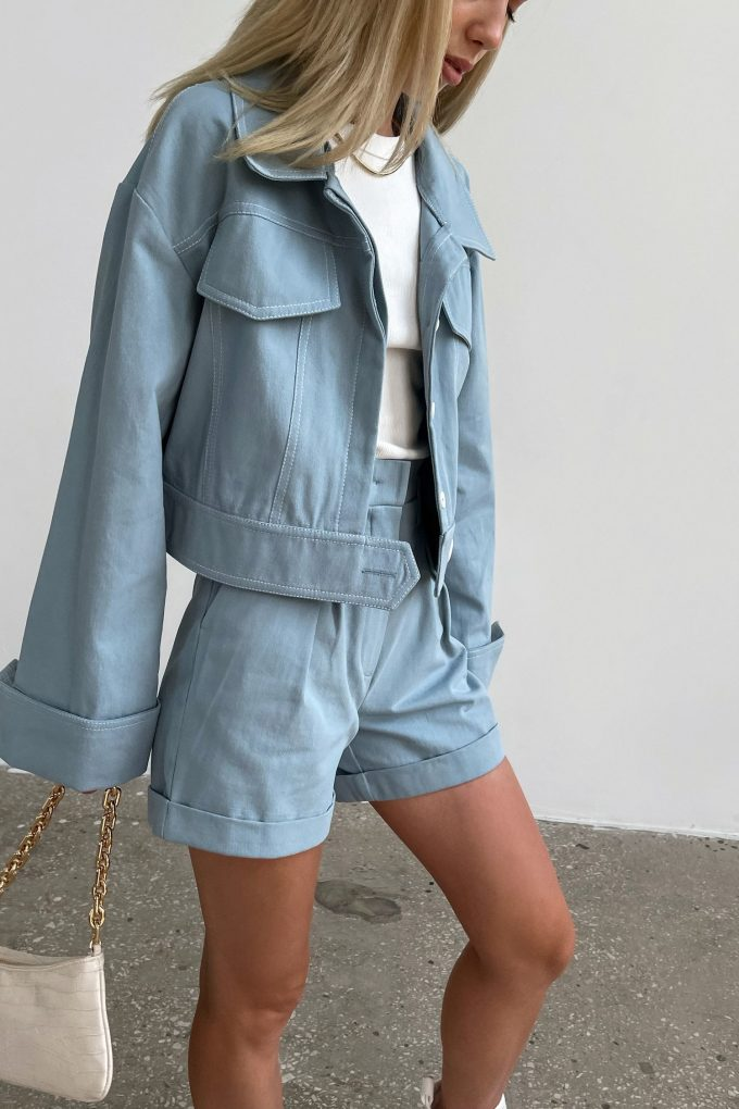 Куртка короткая из коттона серо-голубая - THE LACE