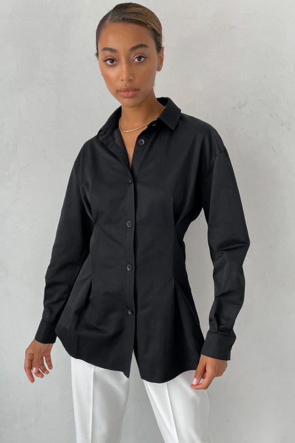 Черная приталенная рубашка - THE LACE