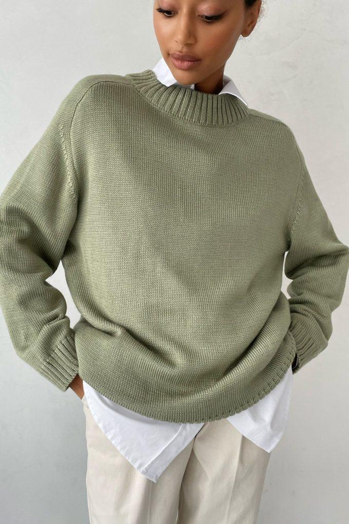 Оливковый шерстяной свитер прямого кроя - THE LACE