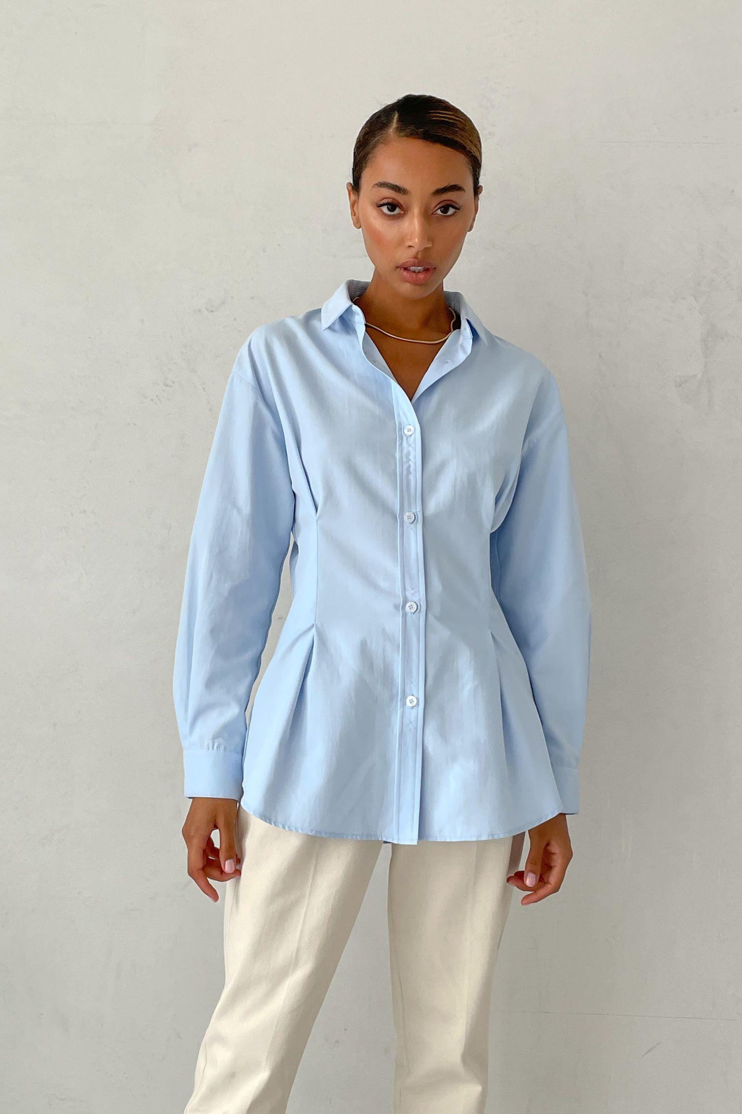 Рубашка с защипами голубая - THE LACE