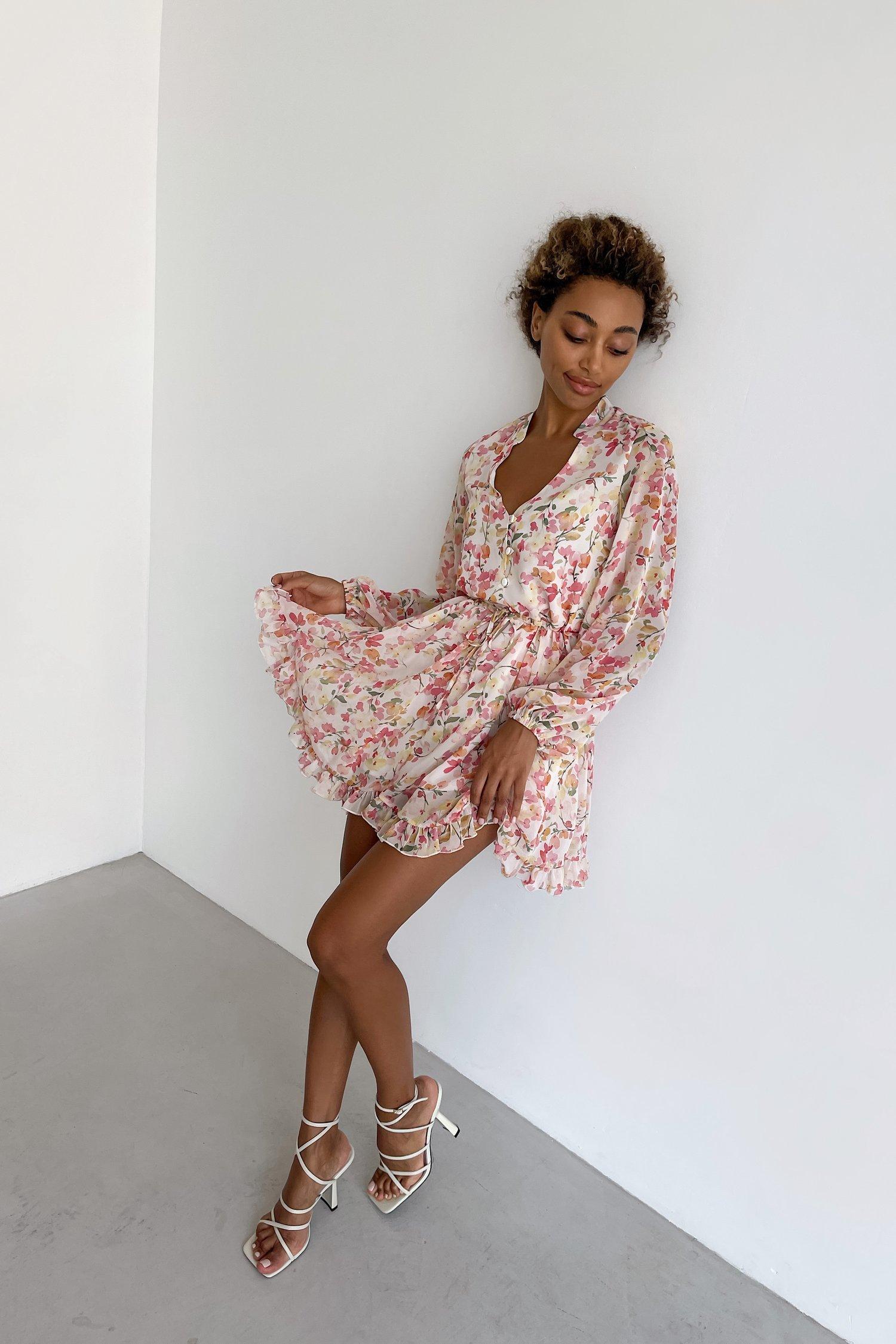 Платье мини с кулиской Colorful flowers - THE LACE