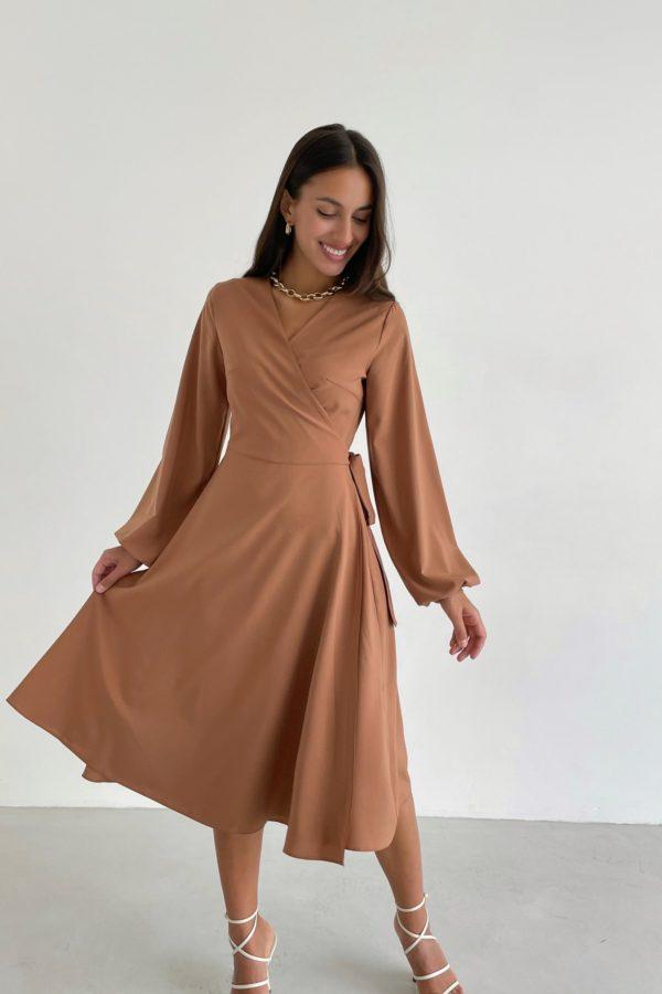 Платье миди на запах карамельное - THE LACE