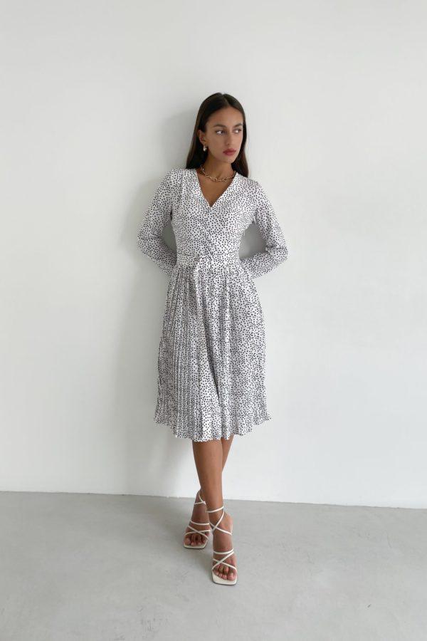 Платье миди плиссе в горох белое - THE LACE