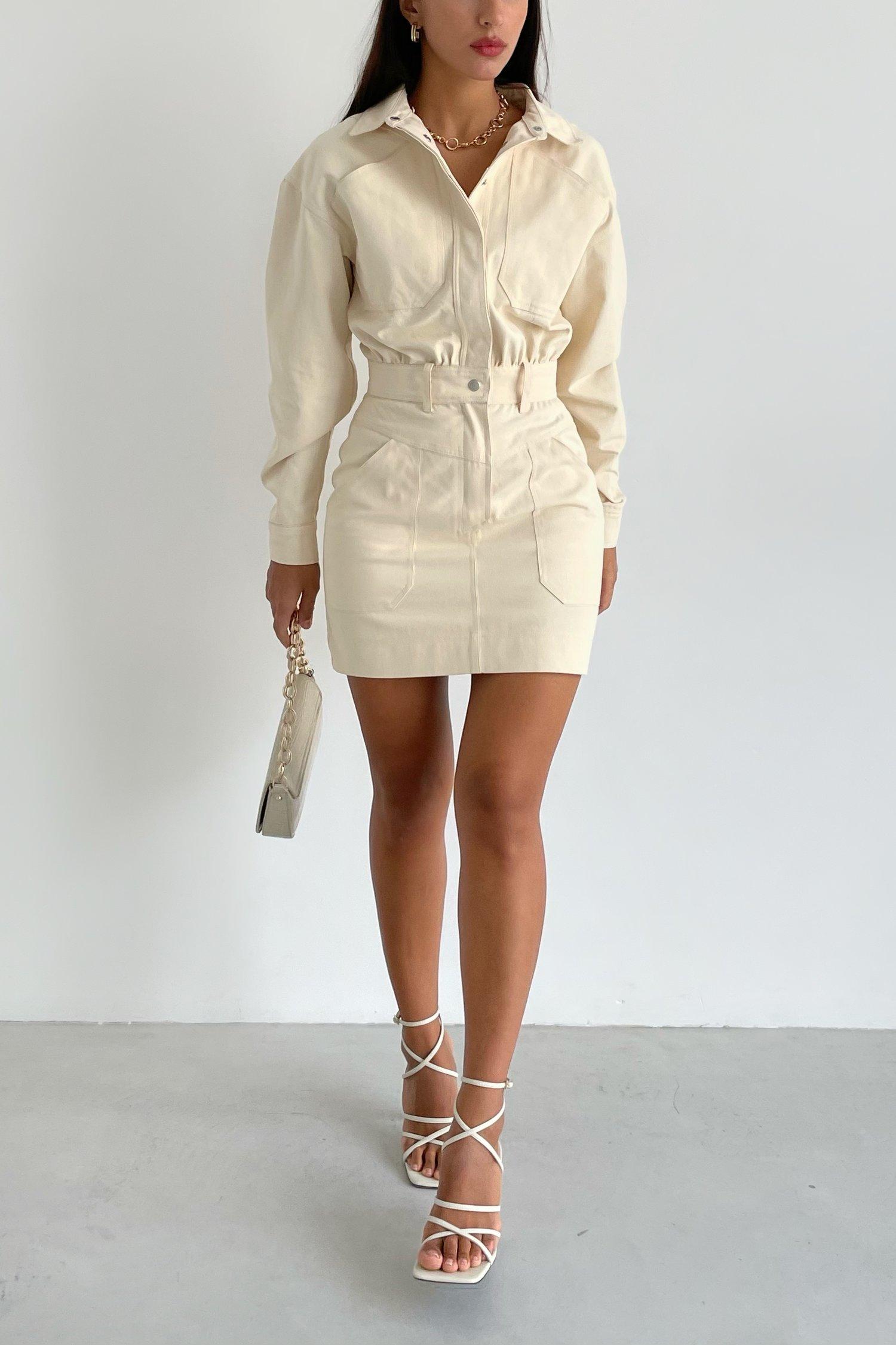 Платье мини из коттона молочное - THE LACE
