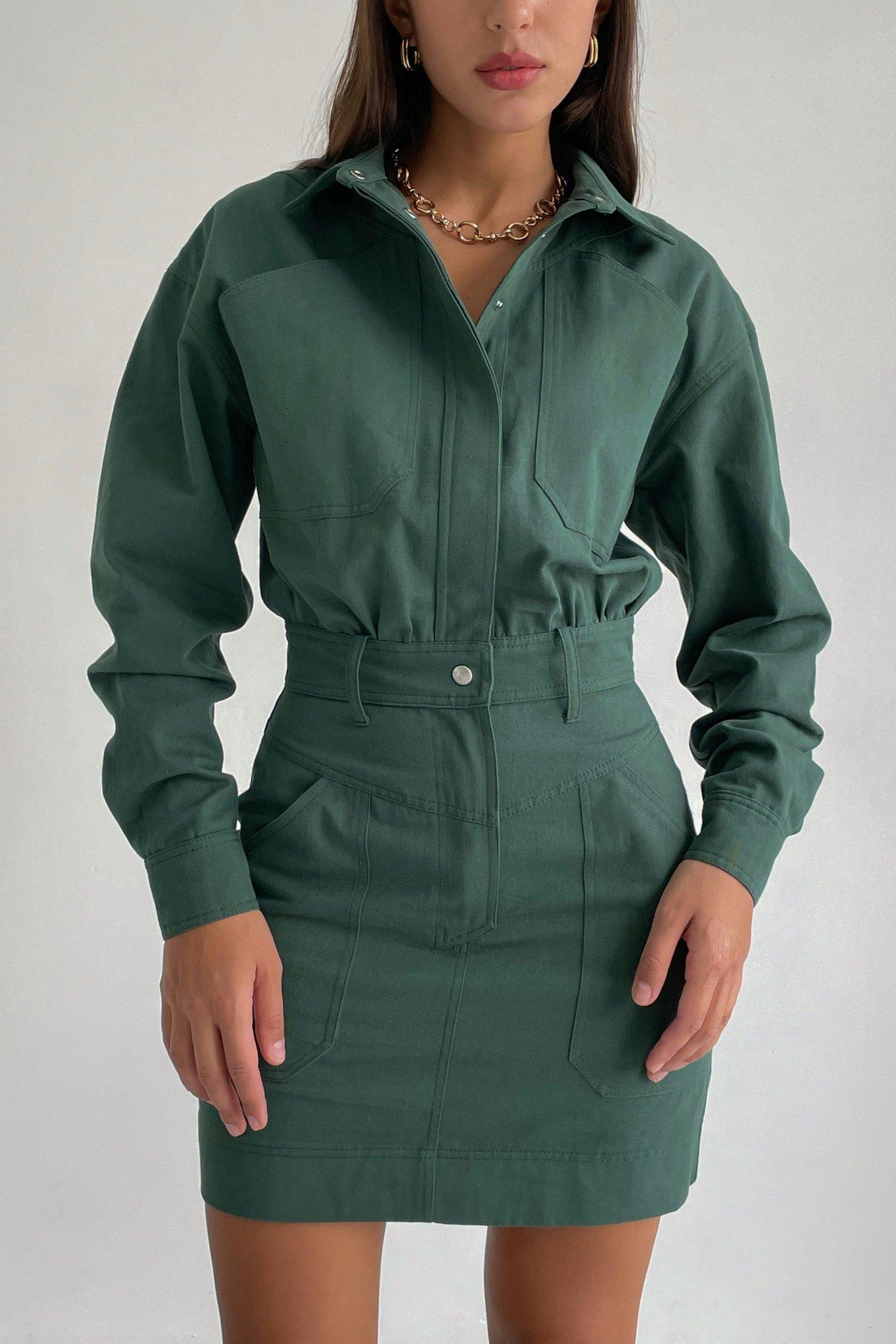 Платье мини из коттона изумрудное - THE LACE