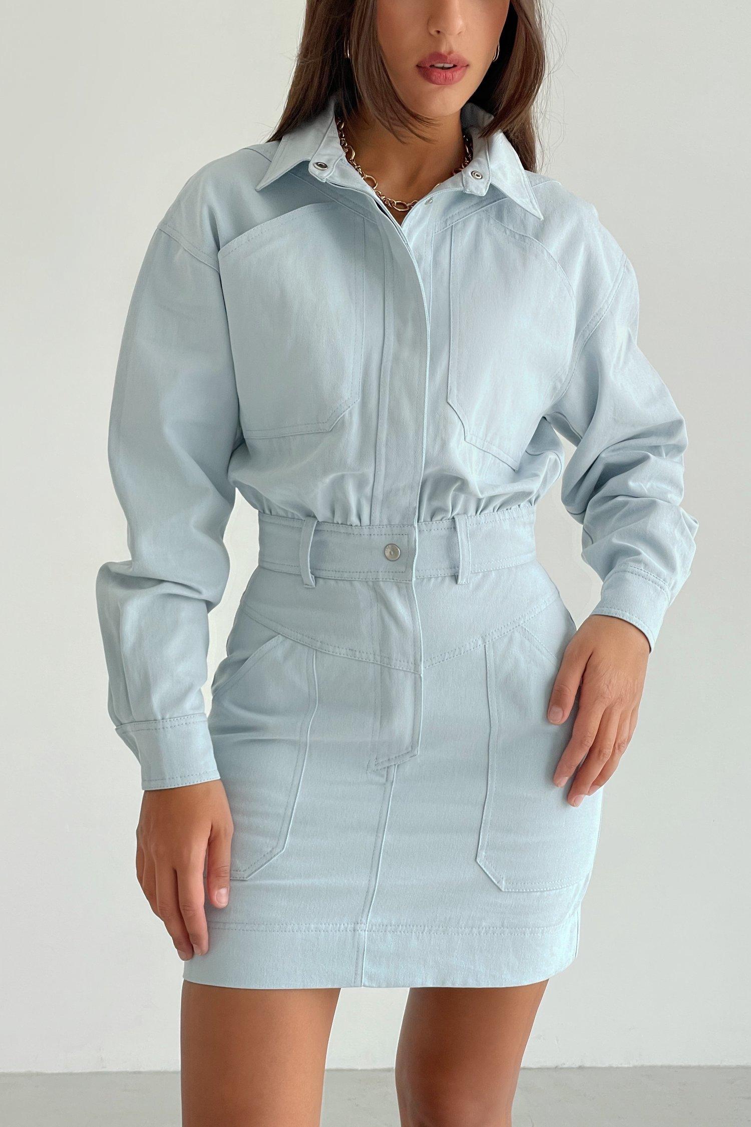 Платье мини из коттона голубое - THE LACE