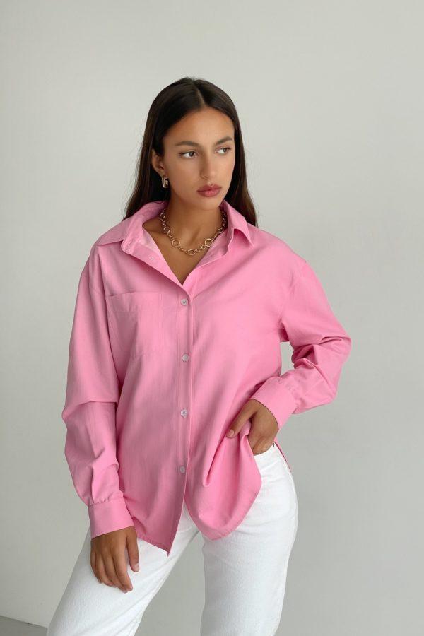 Рубашка оверсайз с накладным карманом розовая - THE LACE