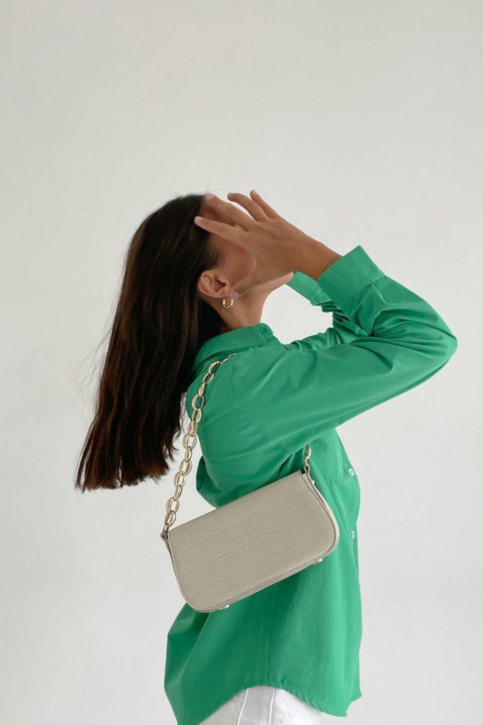 Рубашка оверсайз с накладным карманом зеленая - THE LACE