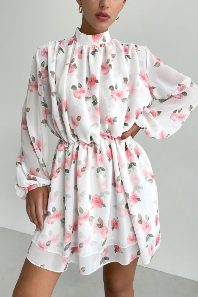 Платье мини белое Sweet roses - THE LACE