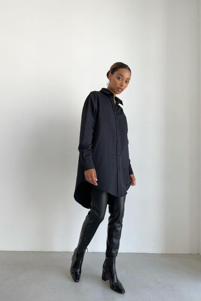 Платье-рубашка оверсайз черное - THE LACE