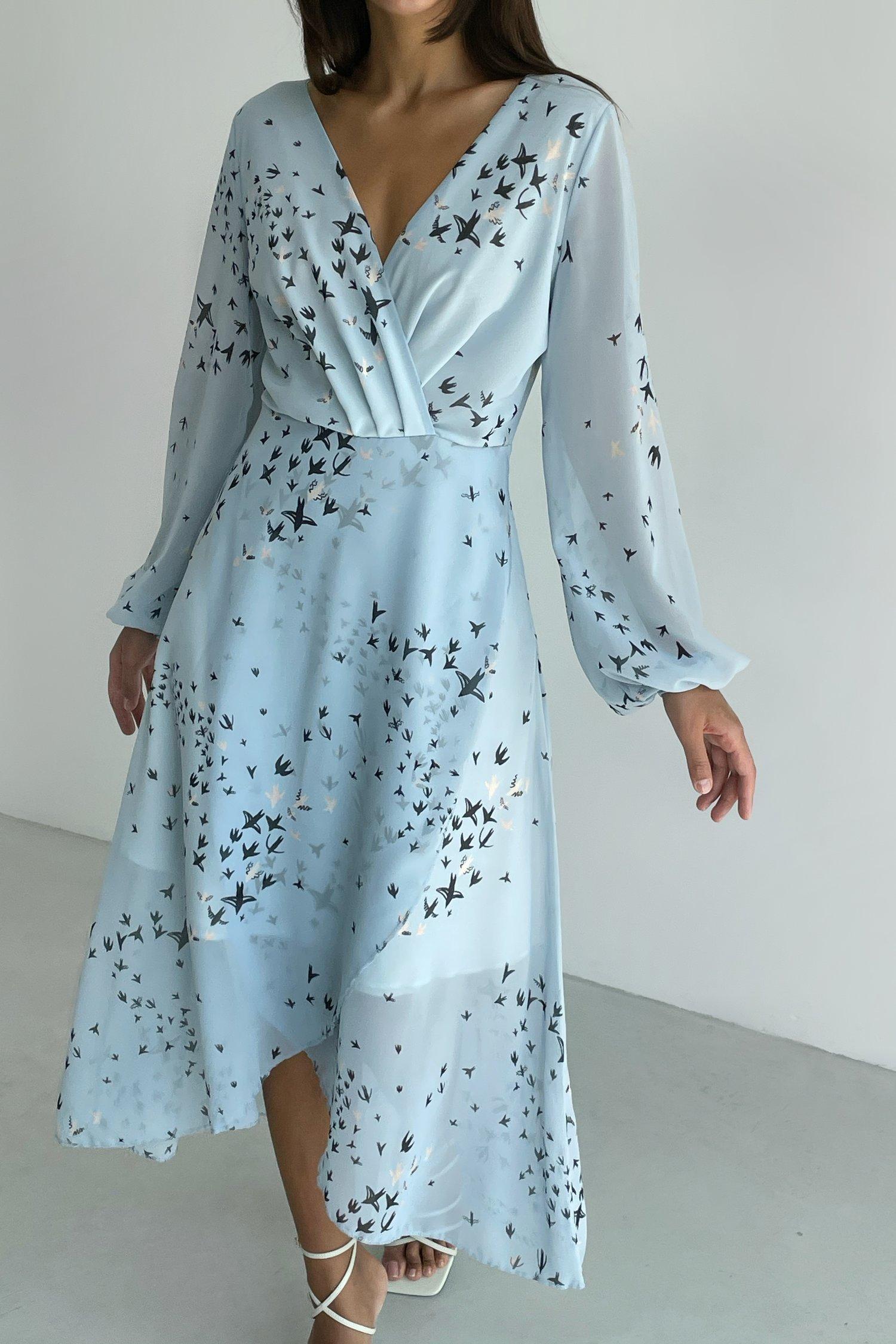 Платье миди голубое с принтом Magic flight - THE LACE