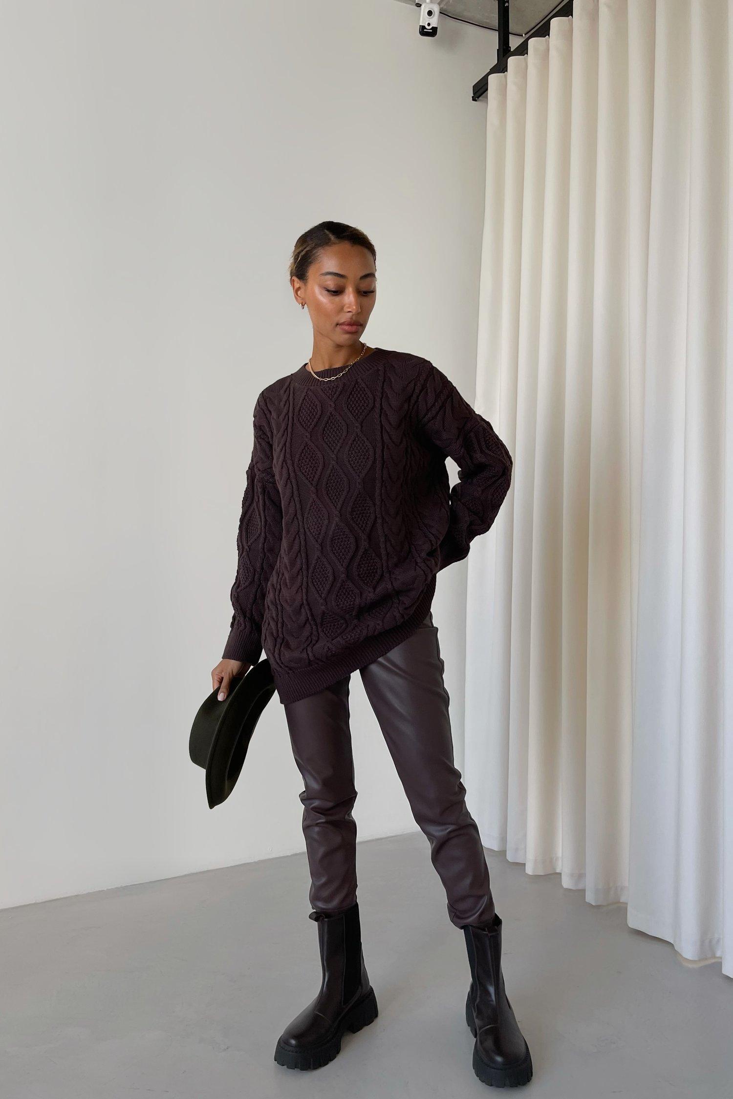Удлиненный свитер с узором шоколадный - THE LACE