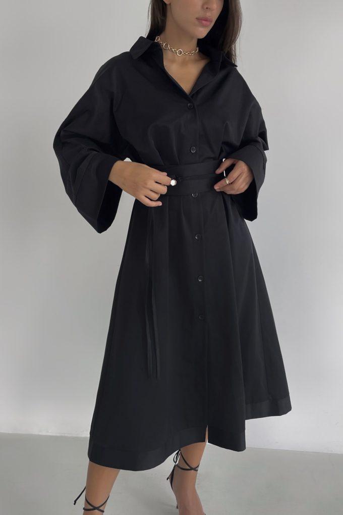 Платье-рубашка миди черное - THE LACE