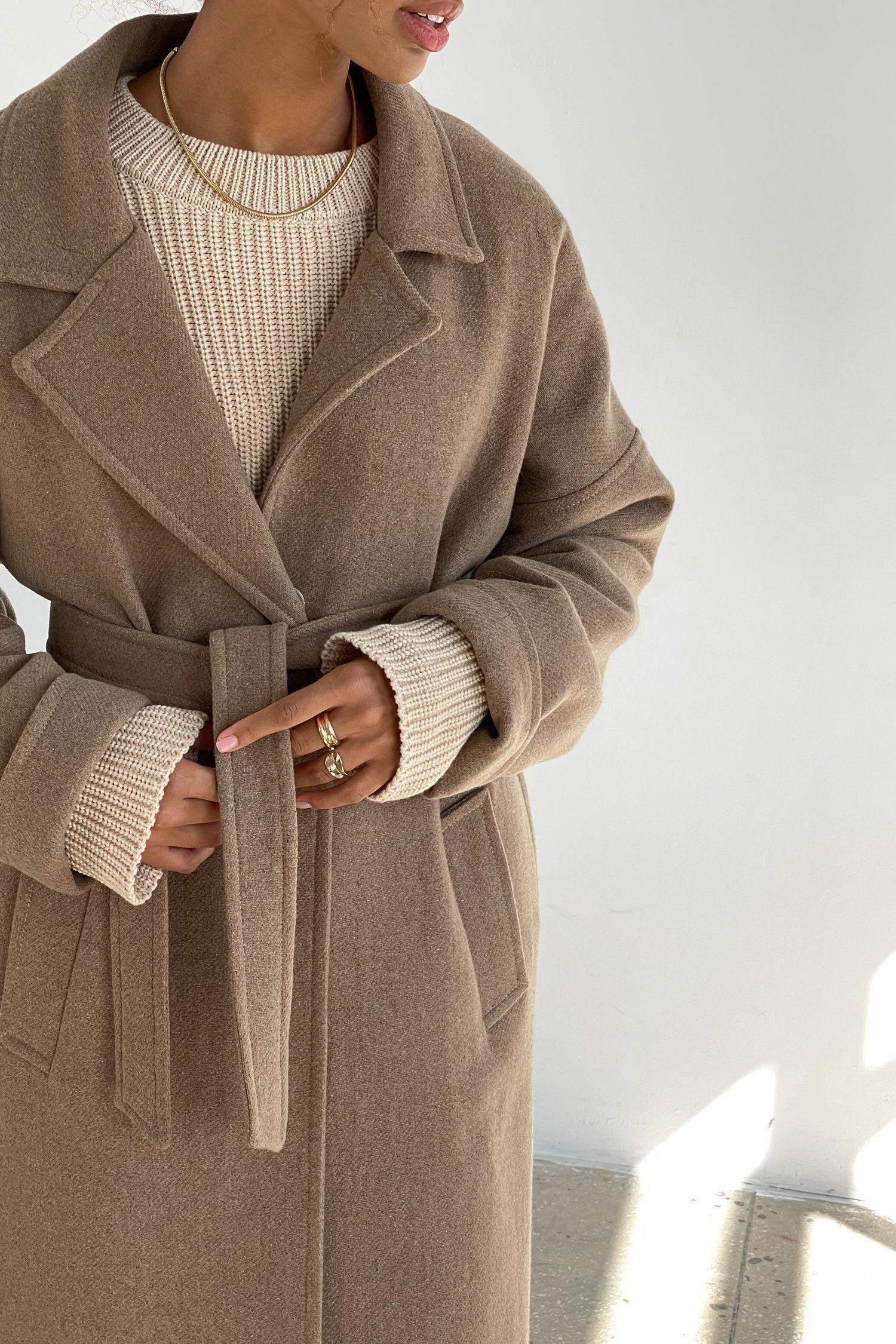 Пальто-халат шерстяное кемел - THE LACE