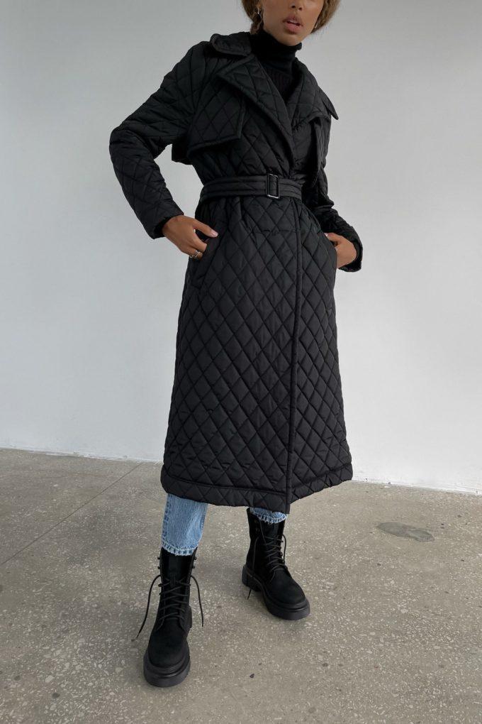 Пальто стеганое черное - THE LACE