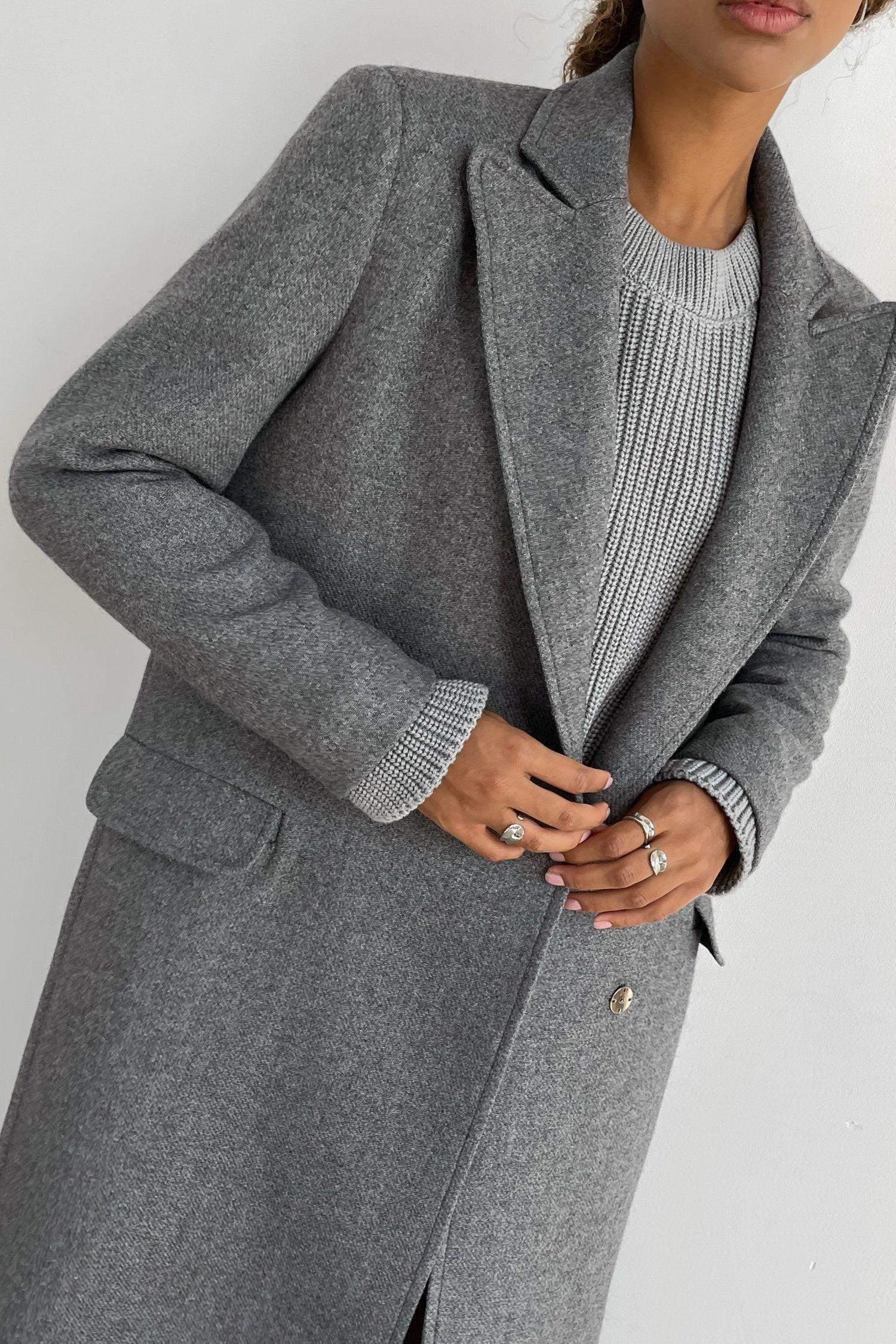 Пальто шерстяное оверсайз серое - THE LACE