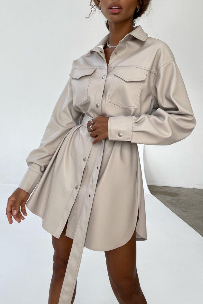 Платье-рубашка из эко-кожи серое - THE LACE