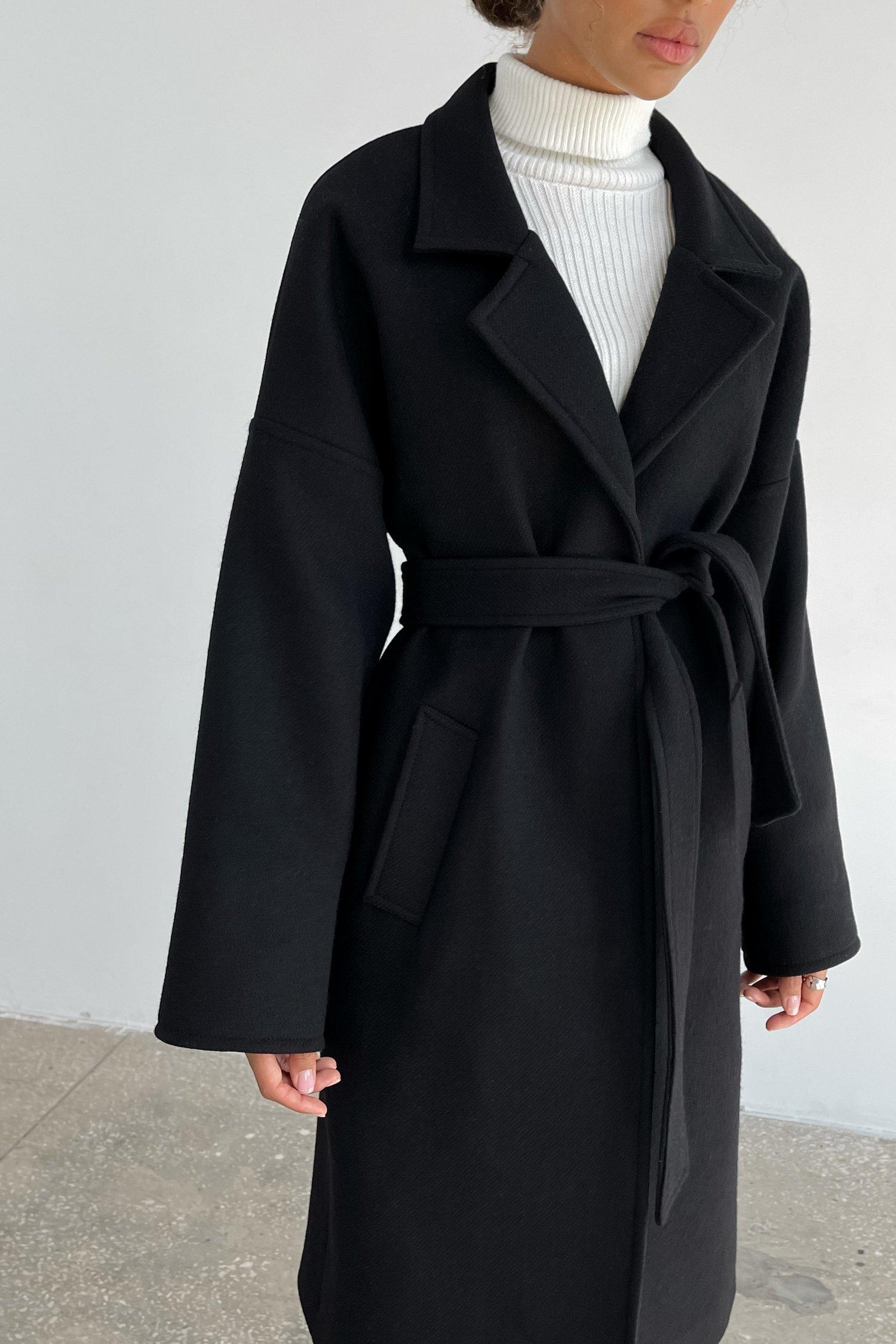 Пальто-халат шерстяное черное - THE LACE