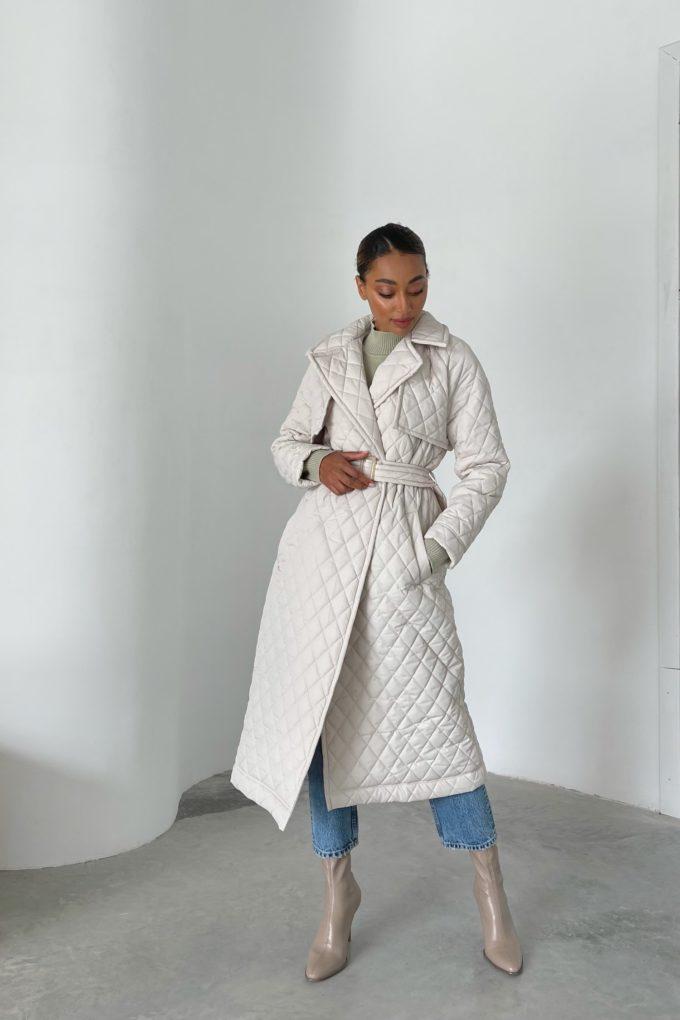 Пальто стеганое кремовое - THE LACE