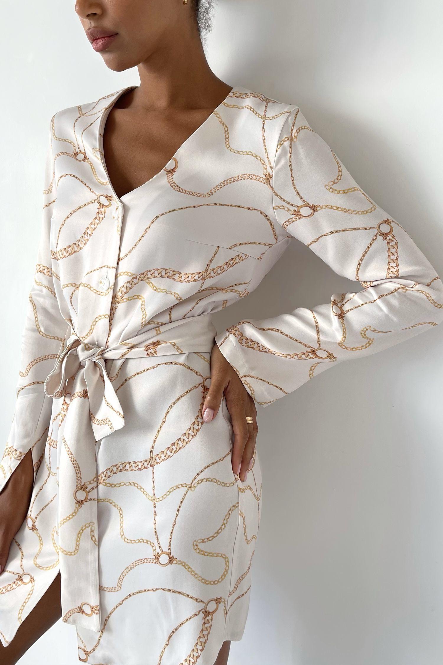 Платье-рубашка с принтом цепи молочное - THE LACE