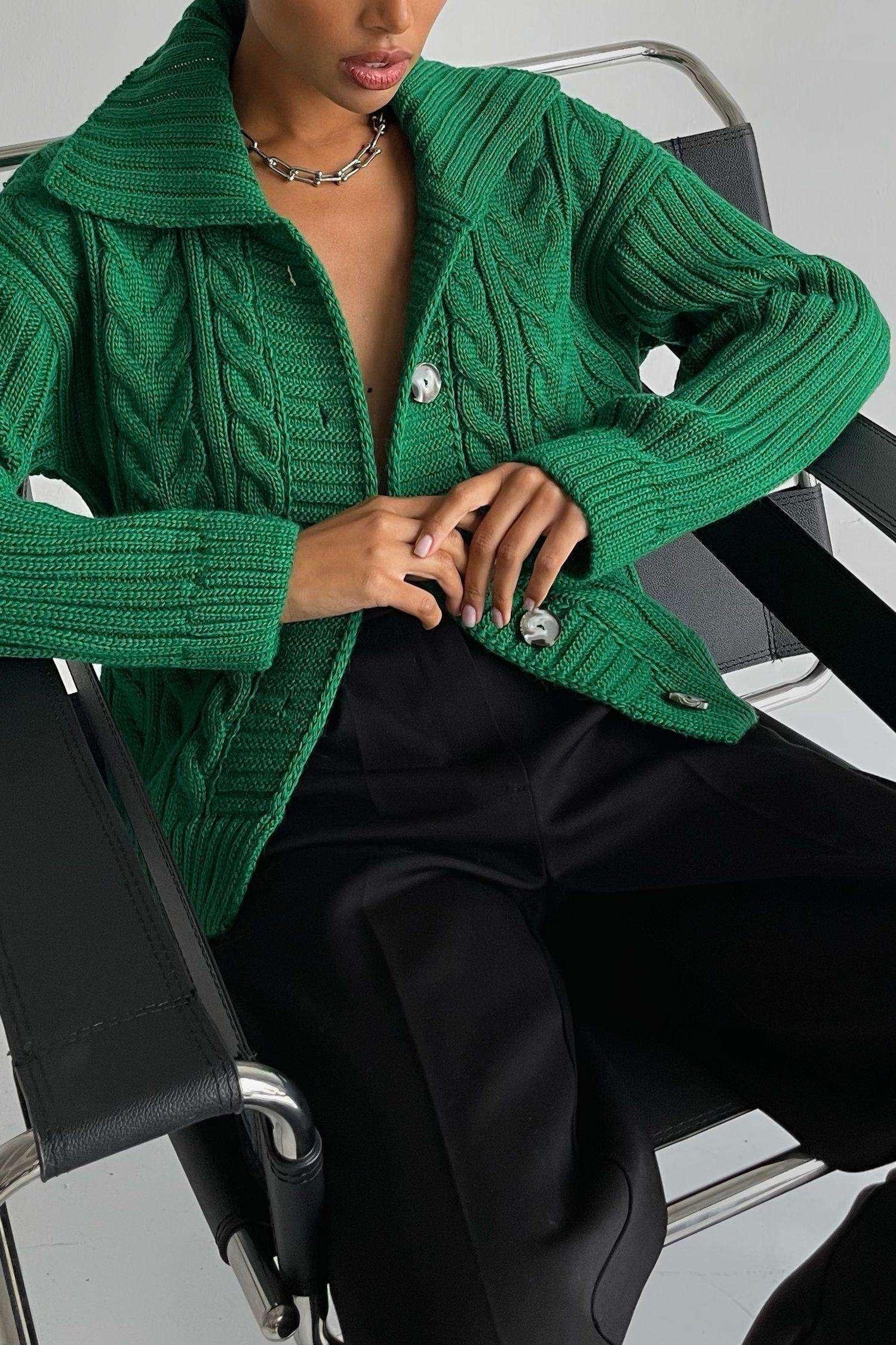 Кардиган вязаный с узором зеленый - THE LACE