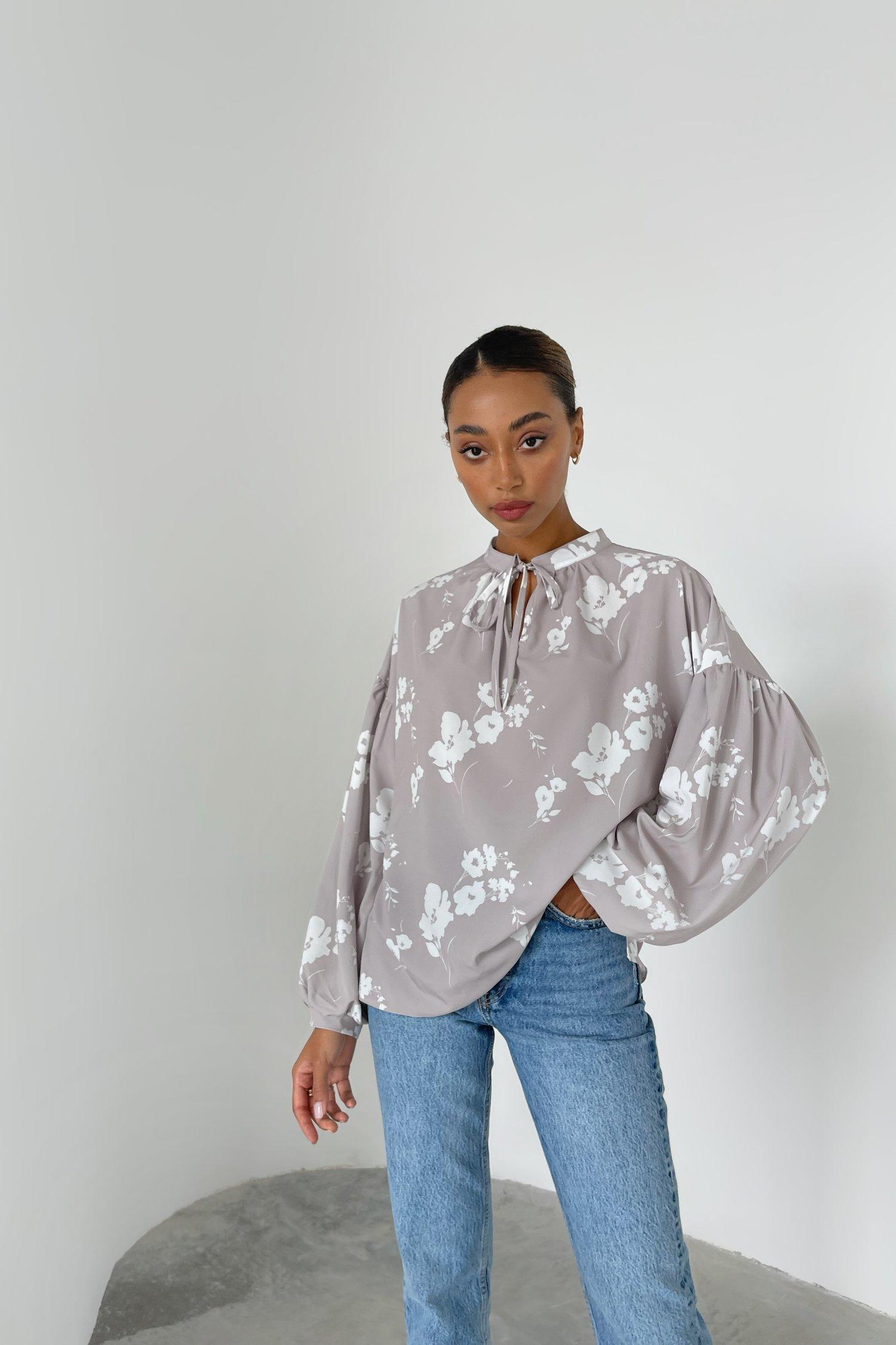 Блуза свободного кроя Windflowers цвета капучино - THE LACE